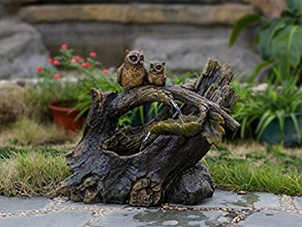 Jeco Tree Trunk and Owls Indoor/Outdoor Fountain