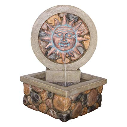Water Fountain with LED Light - Chapoteo Del Sol Garden Decor Corner Fountain - Outdoor Water Feature