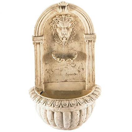 Regal Lion's Head Stone-Look Wall Fountain