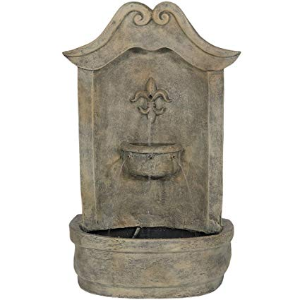 Sunnydaze Flower of France Outdoor Wall Water Fountain, with Electric Submersible Pump, 29 Inch, French Limestone