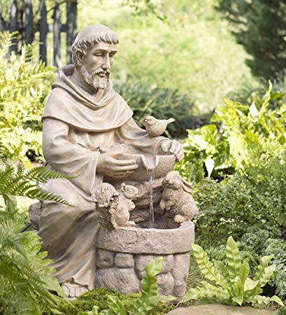 St. Francis Outdoor Water Fountain Detailed Sculpted Resin Electric Pump Decorative Freestanding Yard Garden Decor 14.25 L x 13.25 W x 23.5 H