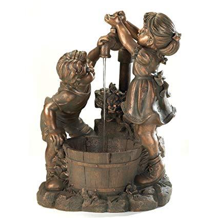 Bronze Look Children Fun And Play Water Garden Fountain