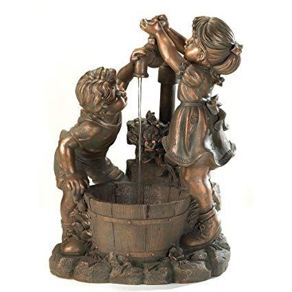 Bronze Look Children Fun And Play Water Garden Fountain